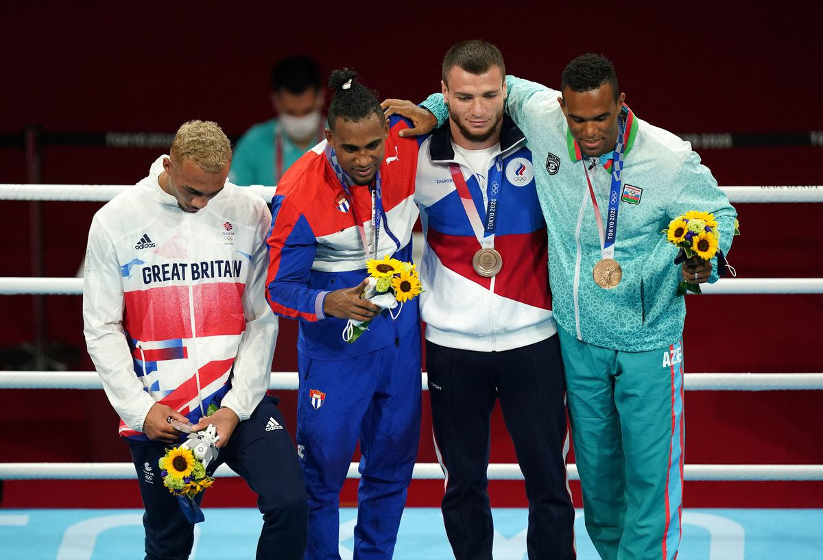 Ben Whittaker did not wear his silver medal on the podium