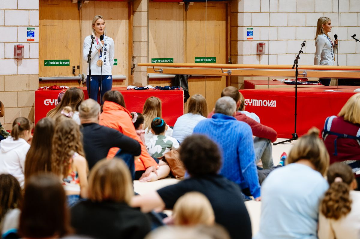 Alice Kinsella speaks to gymnasts and their families at Park Wrekin Gymnastics Club in Wellington