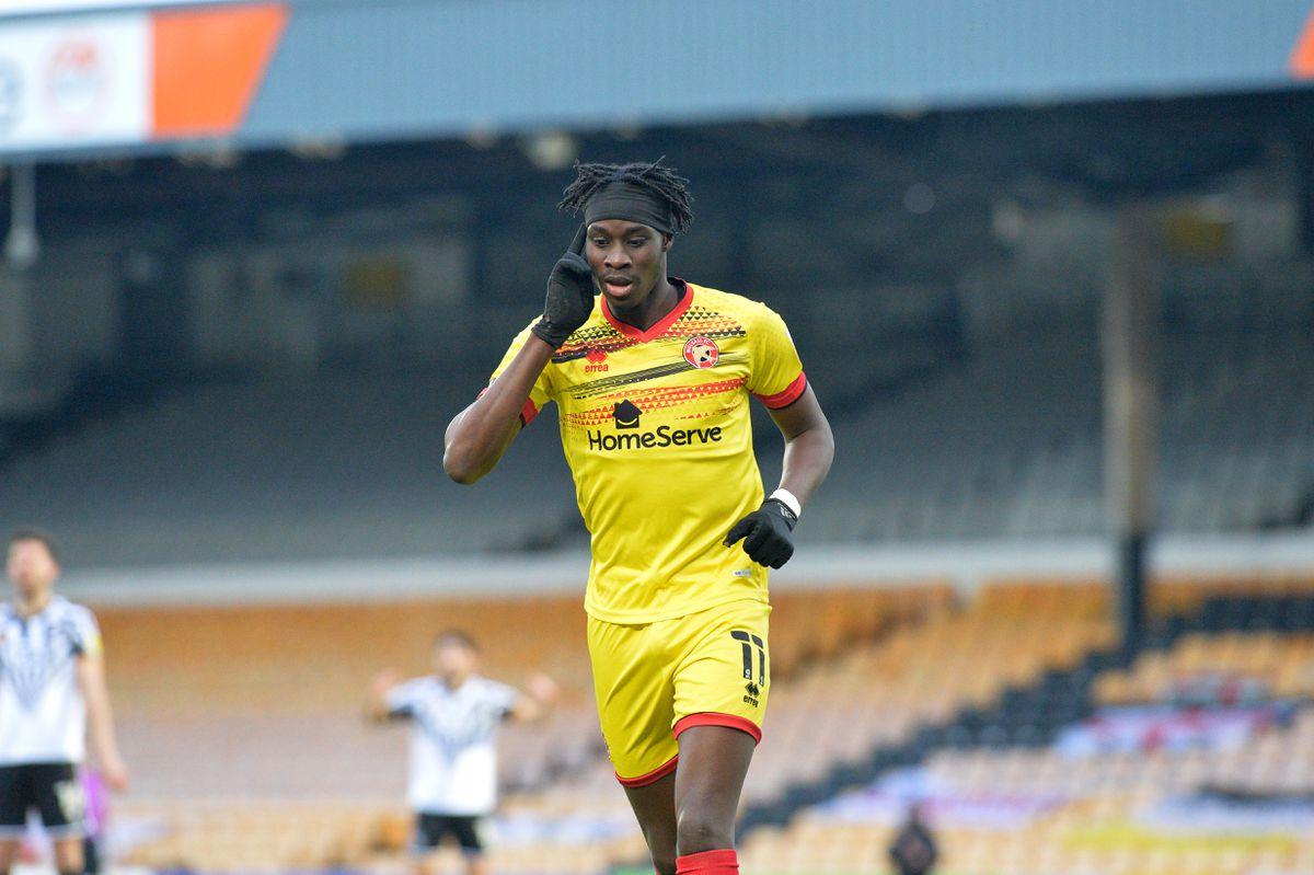 Elijah Adebayo scored twice in Saturday's win at Port Vale.