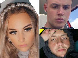 Crash victims Lucy Tibbetts, left, Nathan Cartwright, top right, and Joshua Parkes, bottom right.