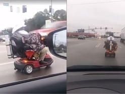 Watch the heart-stopping moment an elderly woman drove her mobility scooter onto a busy highway
