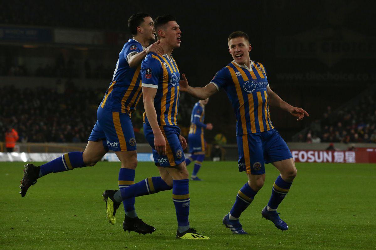 James Bolton of Shrewsbury Town celebrates after scoring a goal to make it (AMA)