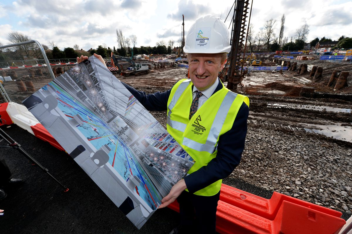 Culture Secretary Oliver Dowden visited the site of the new Sandwell Aquatics Centre, where major construction work has started
