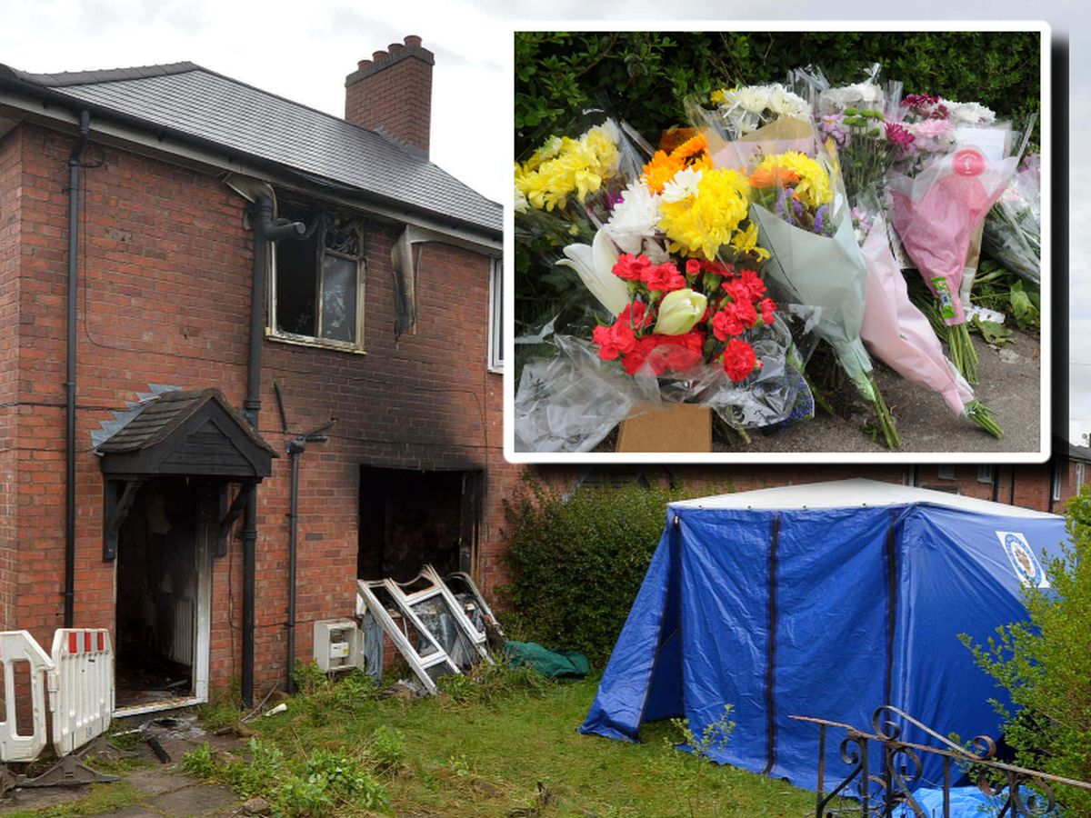 Tributes left at the scene of the house fire in Beacon Lane, Sedgley