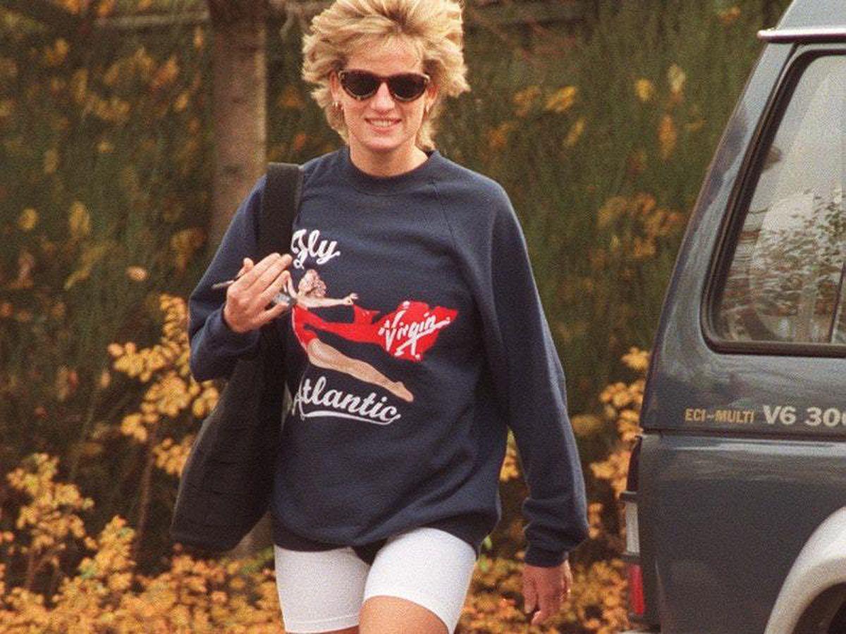 Diana, Princess of Wales wearing the Virgin Atlantic sweatshirt