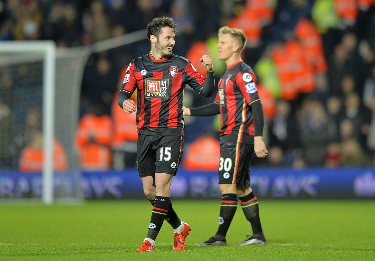 Adam Smith of AFC Bournemouth celebrates after scoring a goal to make it 0-1. (AMA)