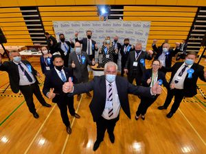 Dudley Council leader Patrick Harley with most of the newly elected Conservative councillors