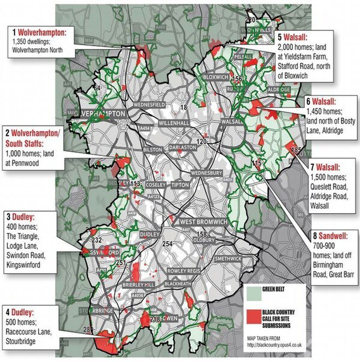 A map of the Black Country's green spaces and where developers are eyeing up land