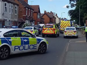 Emergency services at the scene in Prestwood Road, Wolverhampton. Photo: Marcus27UK
