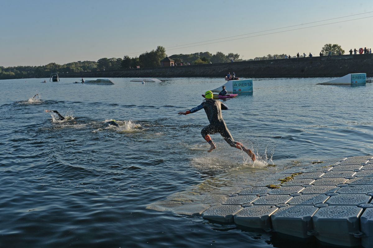 The challenge started with a 1.2-mile swim