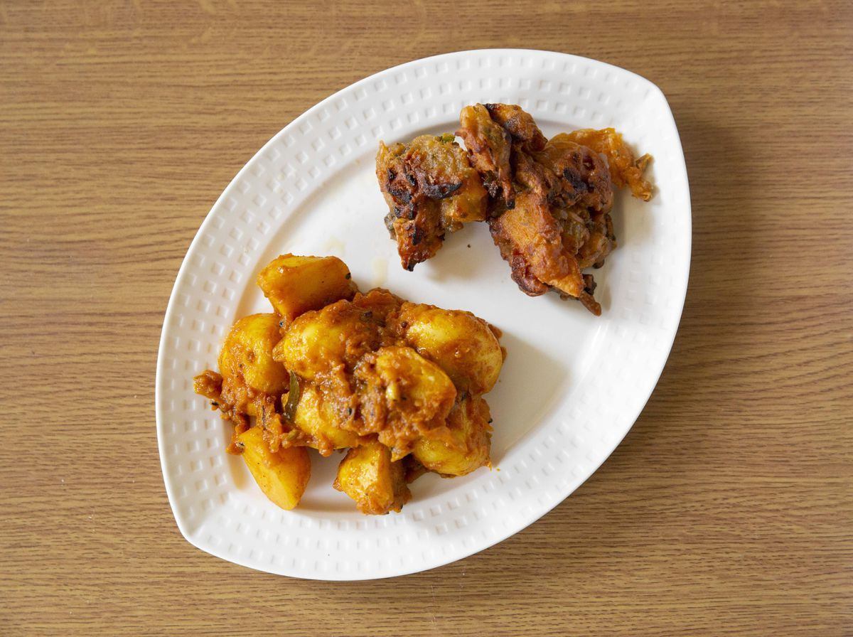Dum Aloo – roasted new potatoes cooked in a dry masala