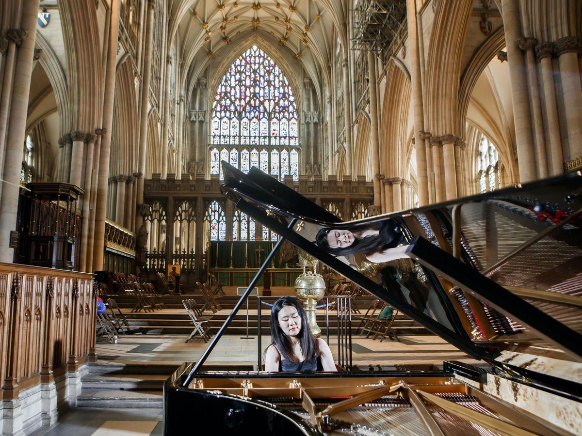 World-class concert pianist Ke Ma rehearses at York Minster