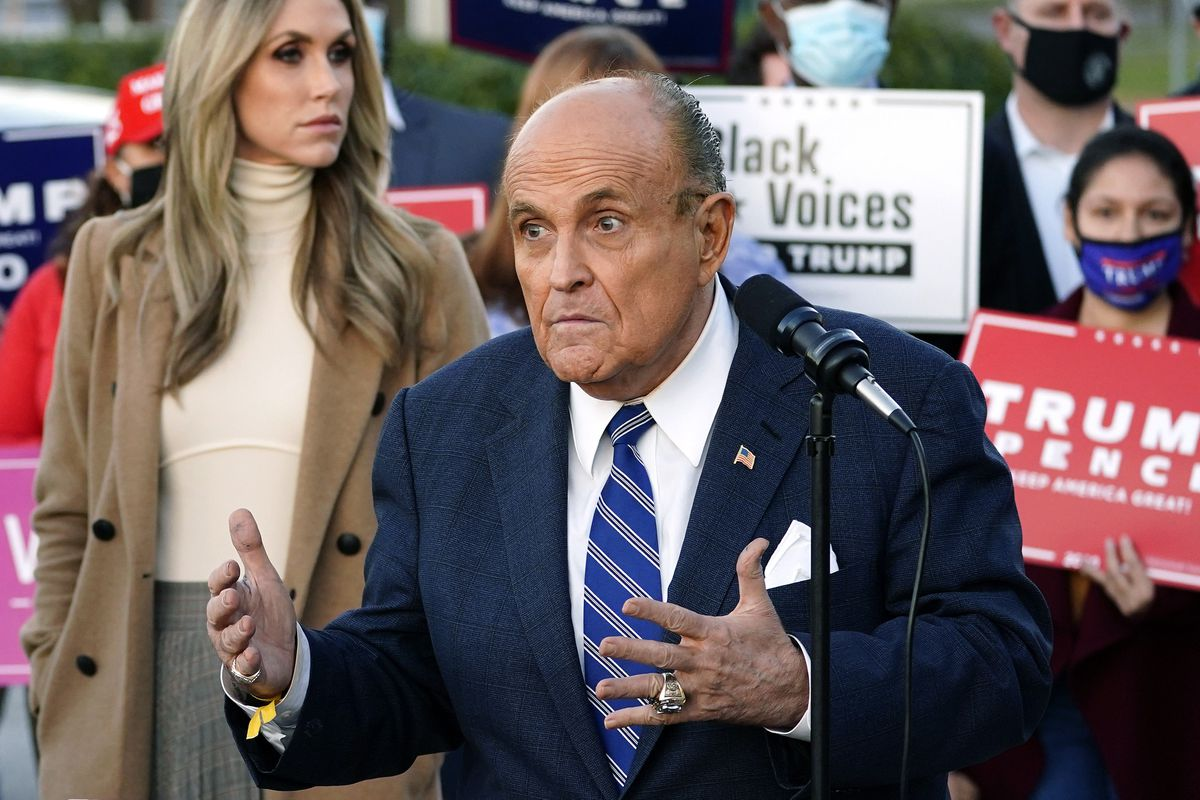 Rudy Giuliani, a lawyer for President Donald Trump, speaks during a news conference on legal challenges to vote counting in Pennsylvania