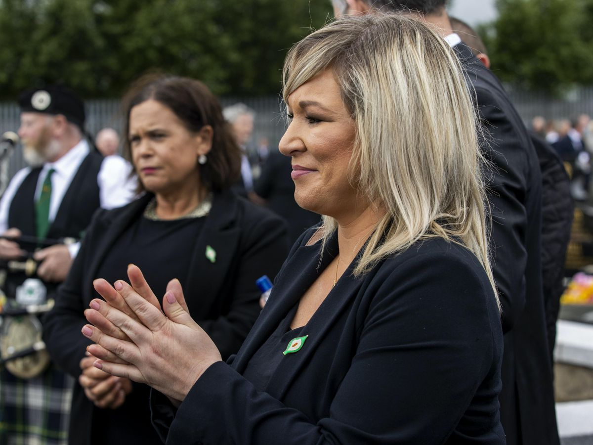 Mary Lou McDonald and Michelle O'Neill at the funeral