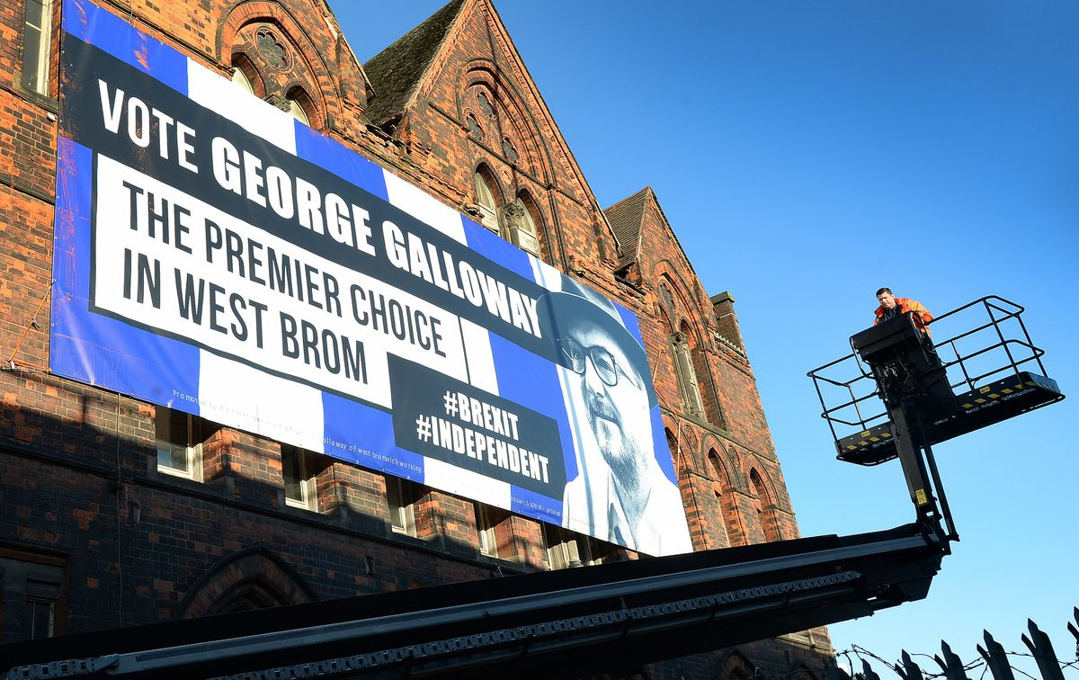 The George Galloway campaign poster which is displaying on the side of the Kenrick building near the M5