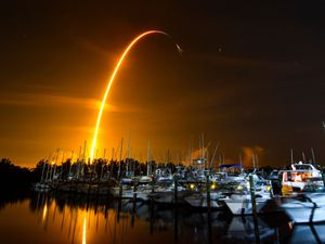 Tthe launch of a SpaceX Falcon 9 rocket on a resupply mission for Nasa to the International Space Station from Pad 39A at Kennedy Space Centre, seen from Merritt Island, Florida