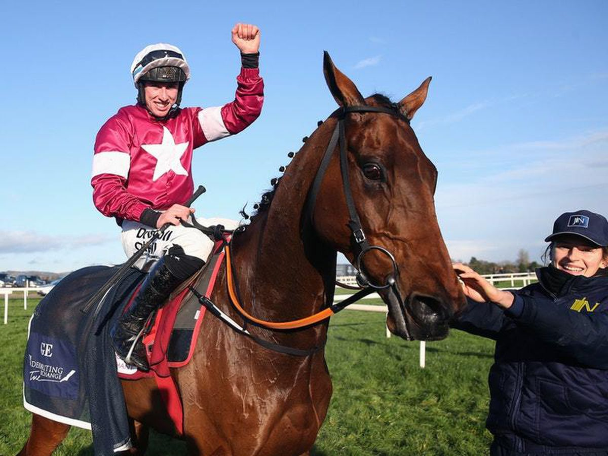 Jack Kennedy celebrates after winning aboard Outlander at Down Royal (Brian Lawless/PA)