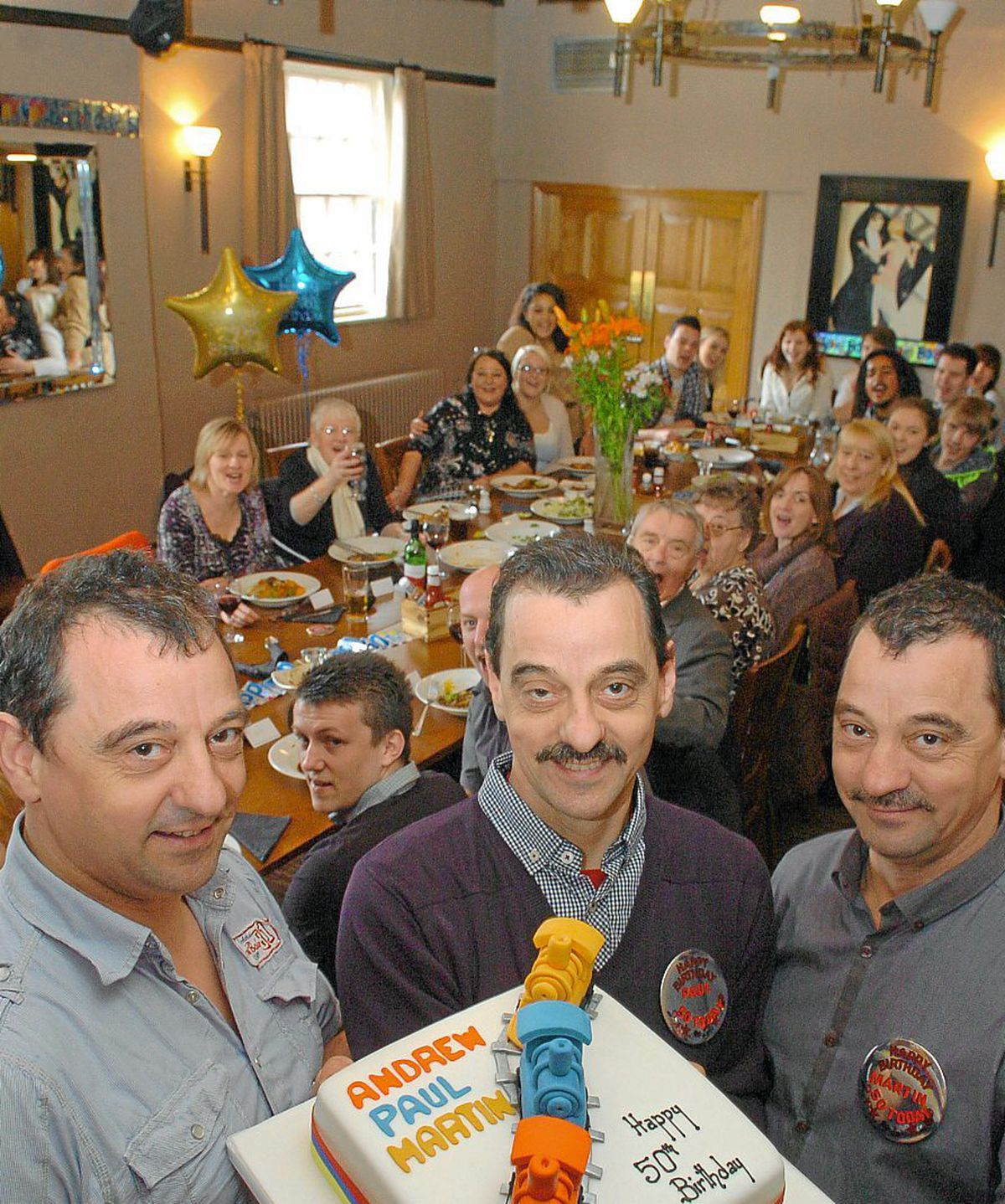 Andrew, Paul, and Martin Tunney celebrating their 50th birthday at The Crown in Bridgnorth in 2011
