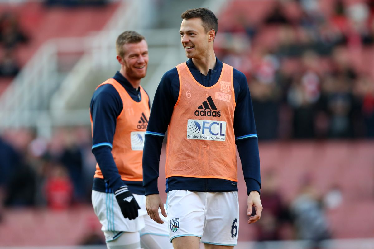 Chris Brunt of West Bromwich Albion and Jonny Evans of West Bromwich Albion  during the pre-match warm up (AMA)