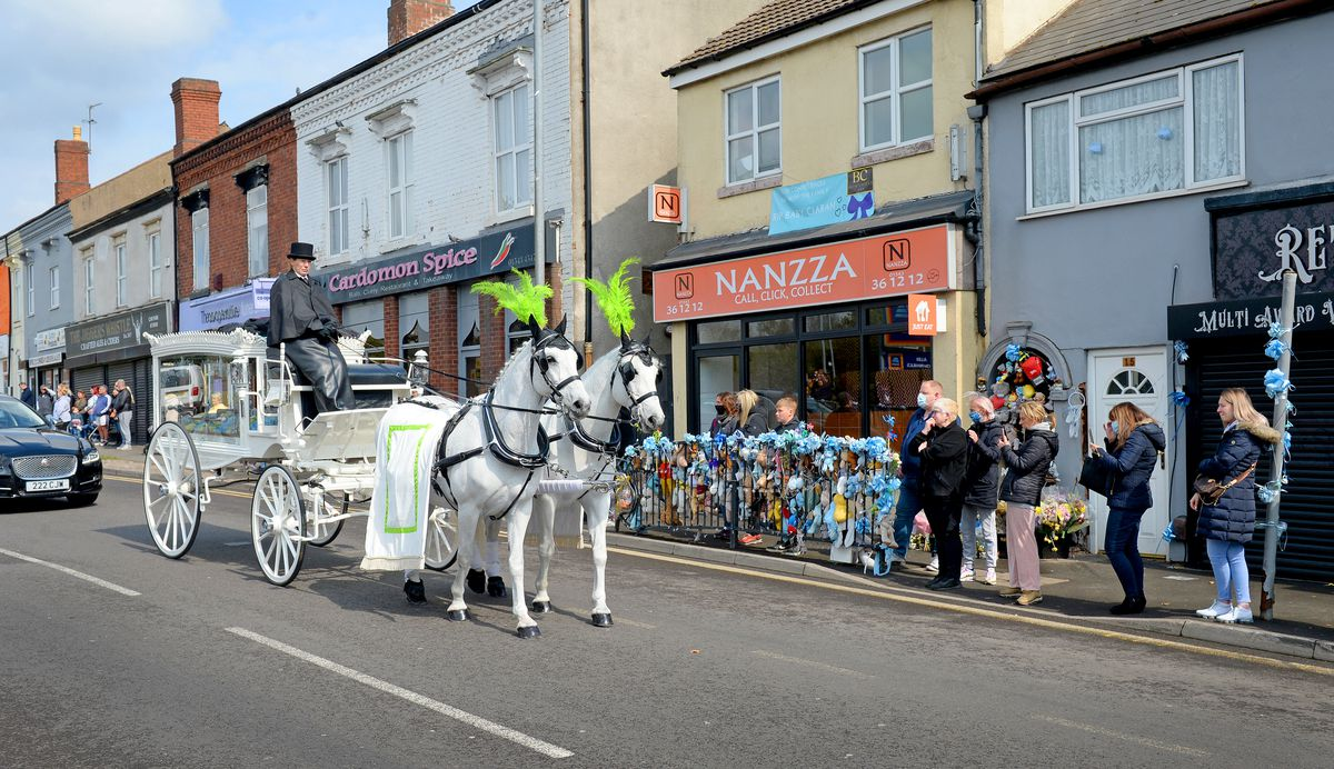 The funeral procession for baby Ciaran Morris in High Street, Brownhills made its way past the spot of the crash