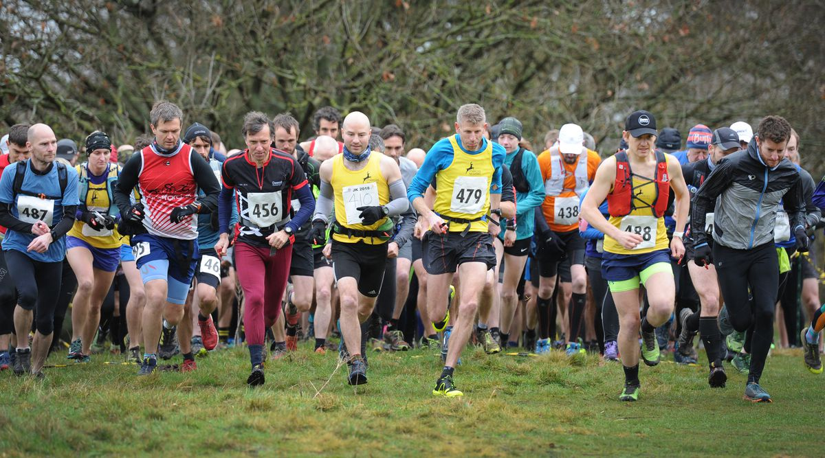 Start of the Cannock Chase Trig Point Race, at Milford Common, Stafford