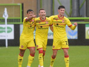 SPORT COPYRIGHT EXPRESS&STAR TIM THURSFIELD-03/10/20.FOREST GREEN ROVERS V WALSALL.Caolan Lavery celebrates his goal..