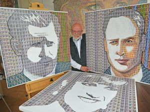 Stamp artist Pete Mason has finished portraits of Prince William, Prince Harry and Princess Diana