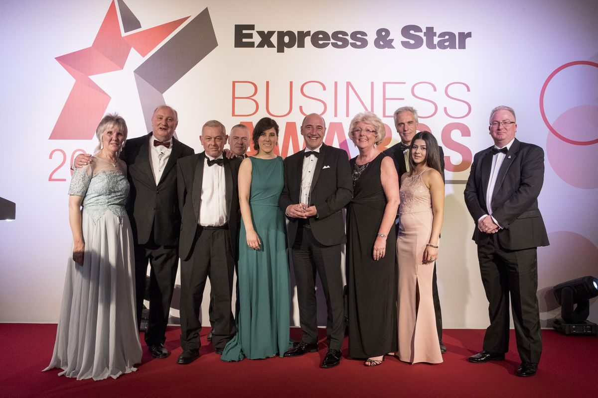 Customer Service Champion award winner STK Fire and Risk Management with sponsor Gail Arnold from The Platinum Group of the Black Country Chamber of Commerce