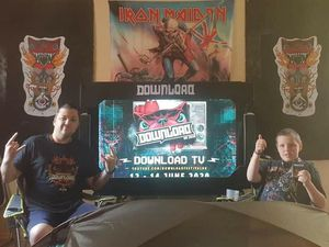 One family enjoying Download Festival from home. Picture from Twitter/maxine smetherhem@msmetherhem