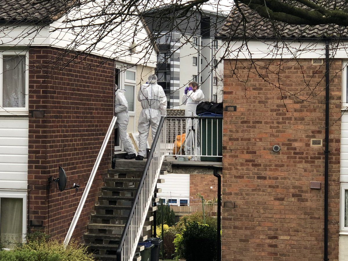 Forensic teams at the home in Wyndmill Crescent on the Charlemont estate