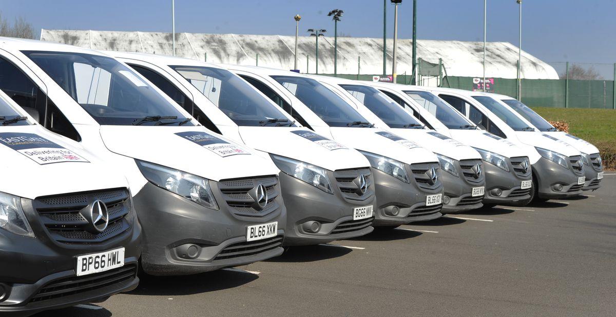 The fleet of vans ready