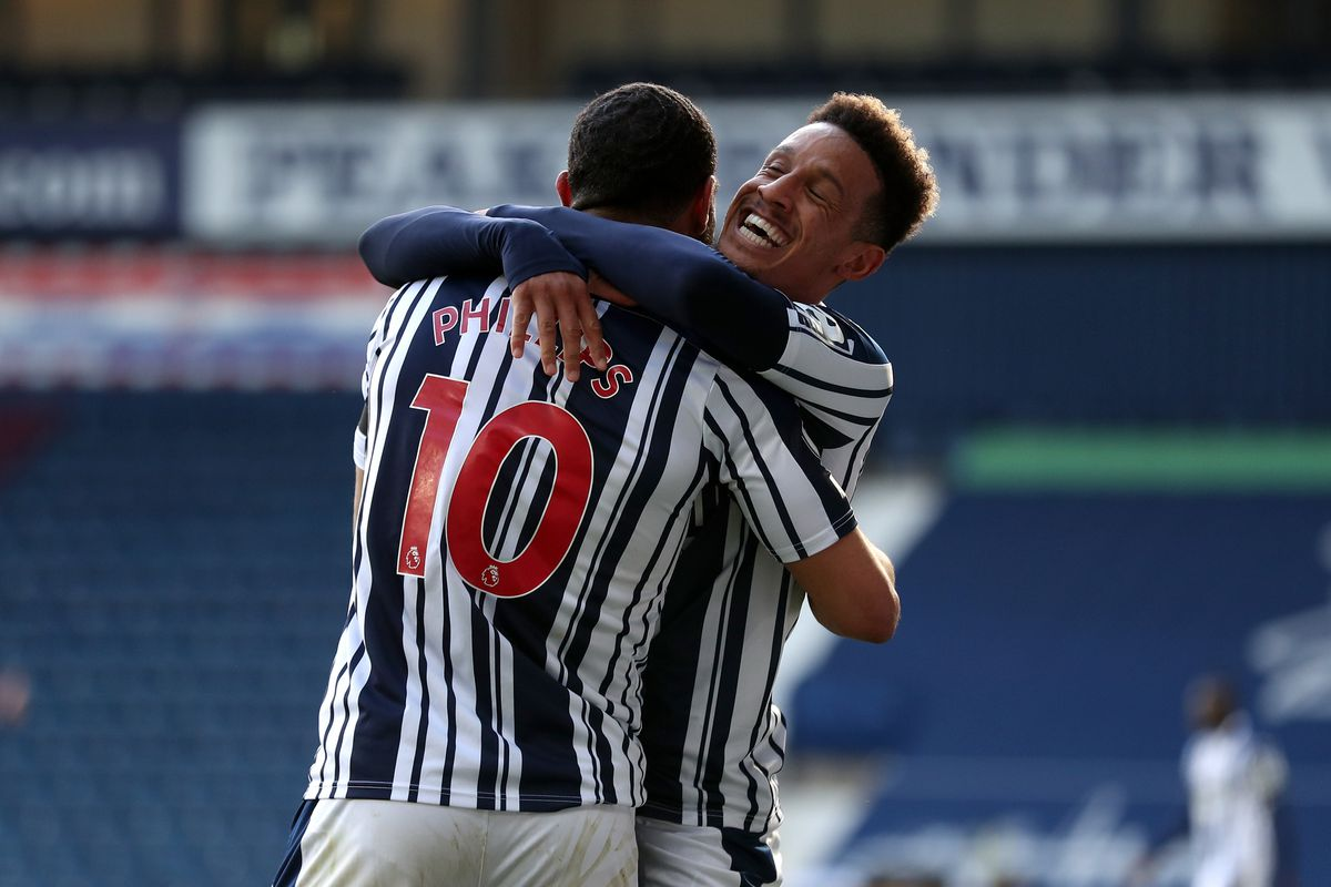 Matt Phillips of West Bromwich Albion celebrates after scoring a goal to make it 2-0 with Callum Robinson of West Bromwich Albion. (AMA)