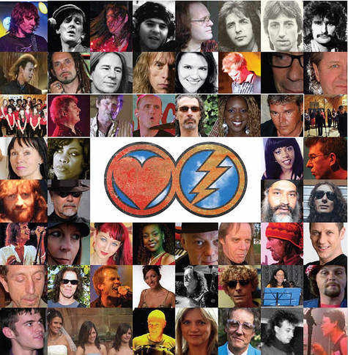 A montage of some of the artists involved in the charity single