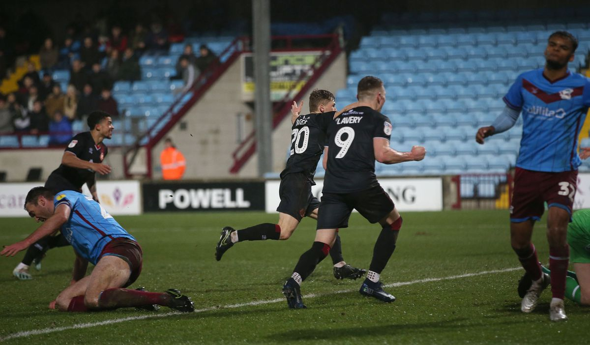 Alfie bates wheels away after scoring Walsall's second goal (Pic: Richard Parkes)