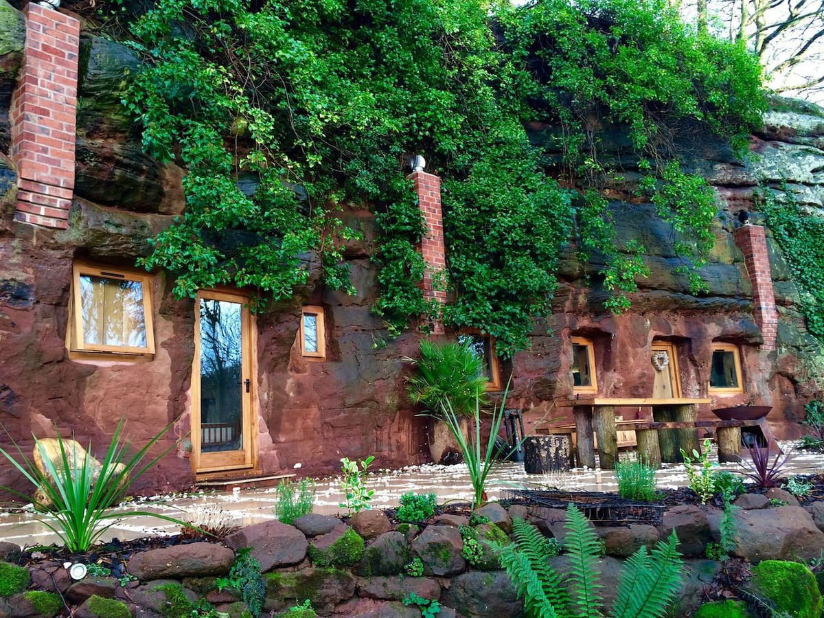 The finished rock house with terrace as pictured on the Airbnb website