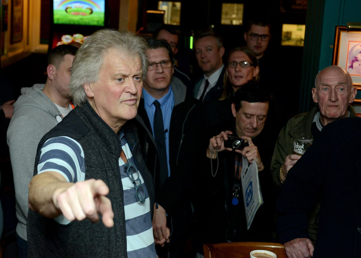 Tim Martin, the founder of Wetherspoons, during a visited the Moon Under Water pub, in December 2018