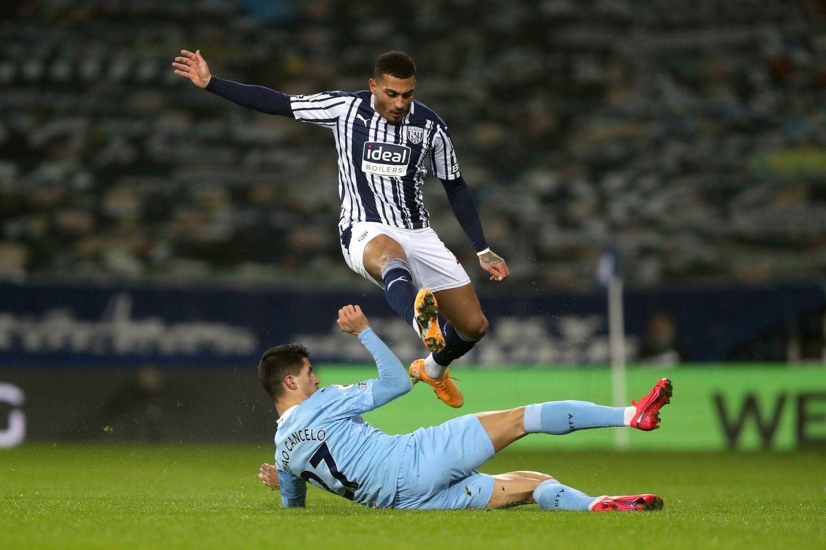 Karlan Grant of West Bromwich Albion and Joao Cancelo of Manchester City. (AMA)