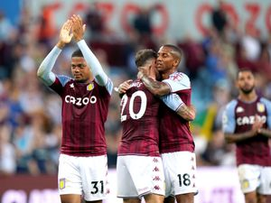 """Aston Villa's Leon Bailey (left) applauds the fans at the end of the Premier League match at Villa Park, Birmingham. Picture date: Saturday September 18, 2021. PA Photo. See PA story SOCCER Villa. Photo credit should read: Tim Goode/PA Wire.   RESTRICTIONS: EDITORIAL USE ONLY No use  with unauthorised audio, video, data, fixture lists, club/league logos or """"live"""" services. Online in-match use limited to 120 images, no video emulation. No use in betting, games or single club/league/player publications."""