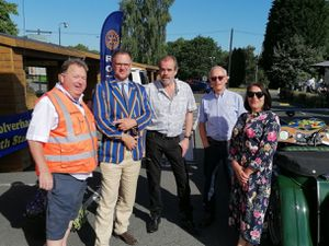 Richard Hinton of sponsor First Class Technologies, television auctioneer Charles Hanson, Simon Price of We Love Lichfield, former rally co-driver Mike Broad and Faye Williams of Community Foundation for Staffordshire at the start of the classic car tour