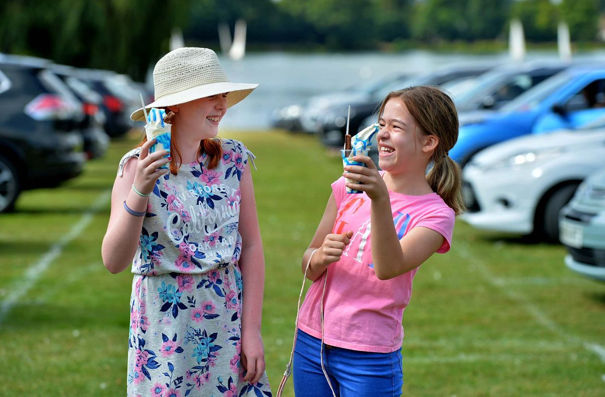 Iris Revell Rushen (10) and Amber Timms (11) from Kingswinford enjoy a laugh before the film