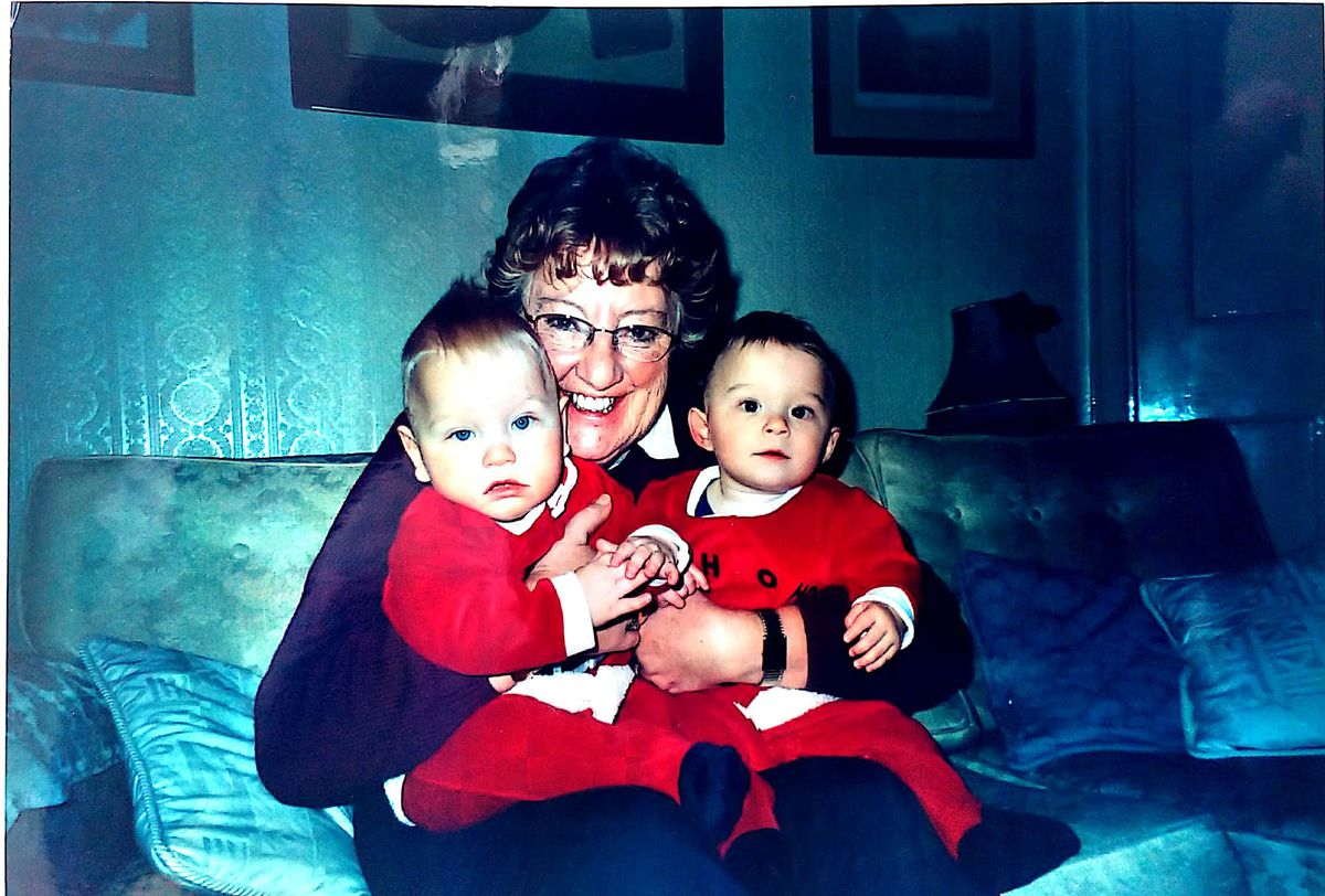 Sue and her grandchildren, Charlie, left, and Harry, right. Sue was 66 here, and her grandchildren were nine months old