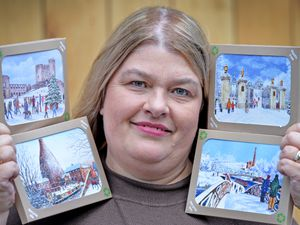 Mary Stevens Hospice's Ruth Longville with some of the Black Country-themed Christmas cards