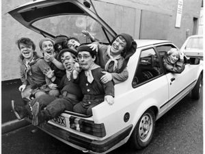 Stars from the Grand's 1984 -5 panto season pile into the boot of a Ford Cortina