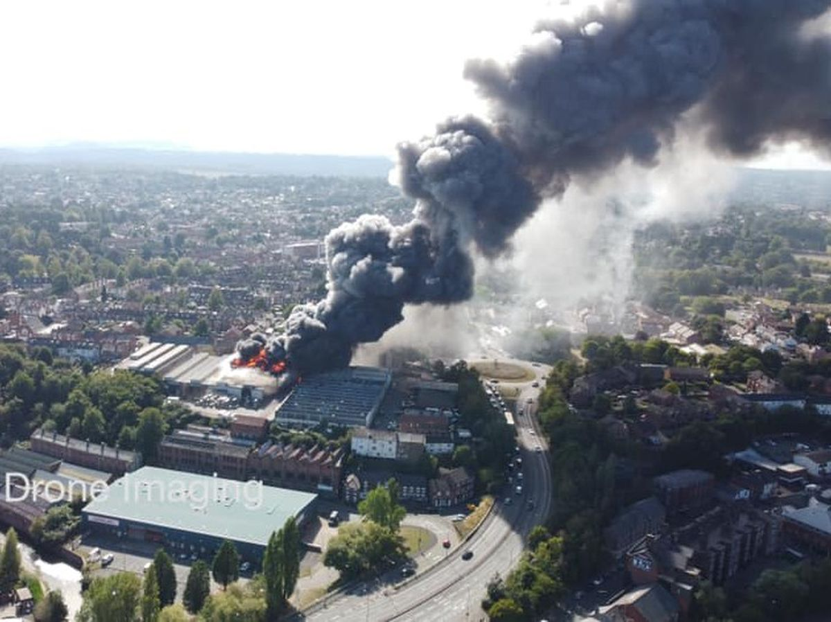 Drone photo showing the blaze in Park Street, Kidderminster. Photo: Central Drone Imagining