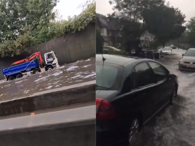 Vehicles stranded on M25 amid flash flooding