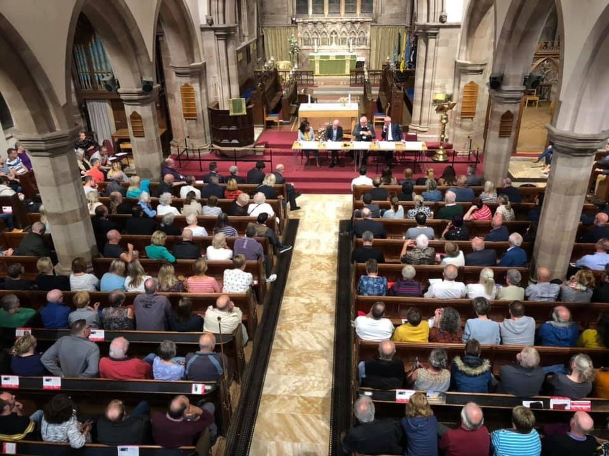 St.Bartholomew's Church was packed for a meeting about plans to build on green belt land