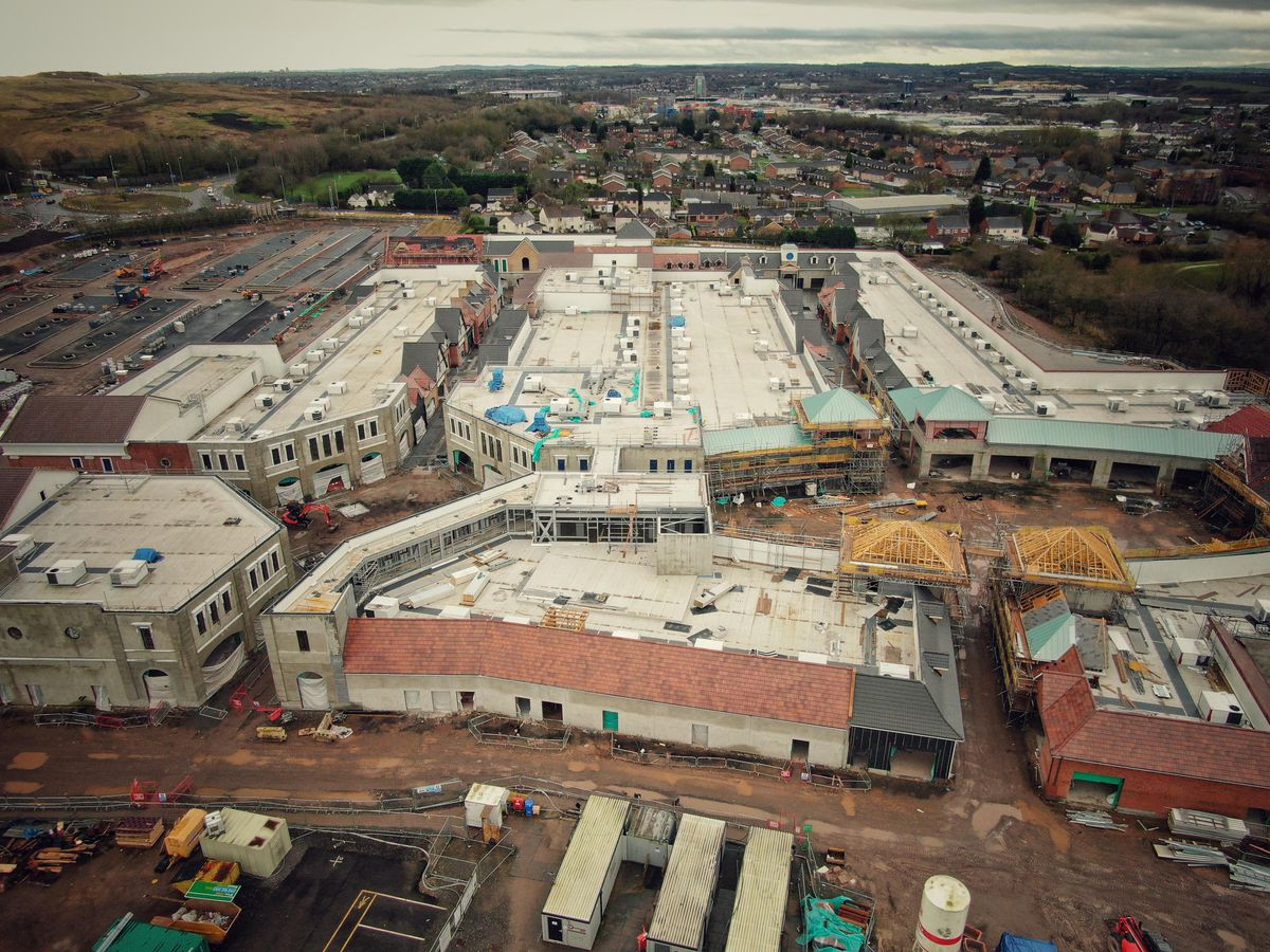 Aerial shots of the new McArthurGlen outlet in Cannock. Photo: Paul Turner
