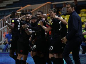 Valerien Ismael Head Coach / Manager of West Bromwich Albion joins in with the players celebrating Semi Ajayi of West Bromwich Albion scoring a goal to make it 0-1.