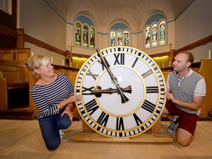 Judith Round, whose dad Les Billingham was the church warden at St Luke's and maintained the clock when it was installed there, and James Brookes, project manager.