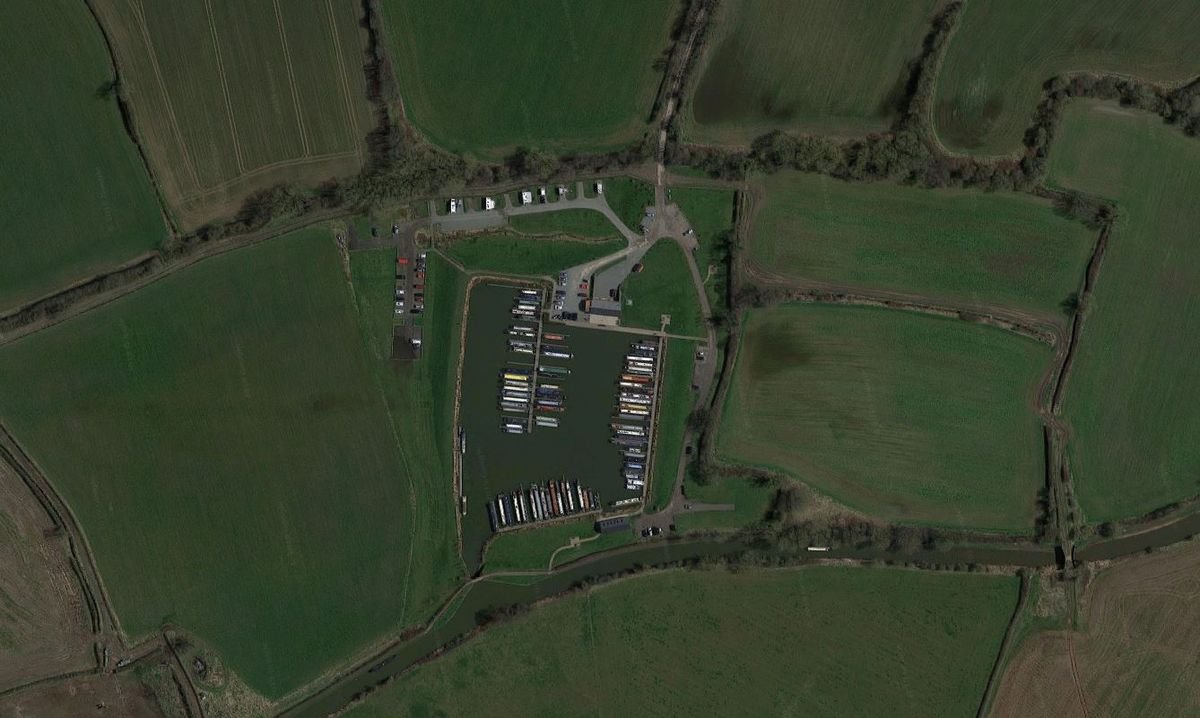 An aerial view showing King's Orchard Marina next to the Coventry Canal. Photo: Google